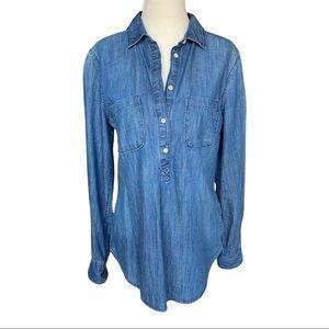 Merona Dark Wash Denim Blue Tunic Long Sleeve Jean Shirt